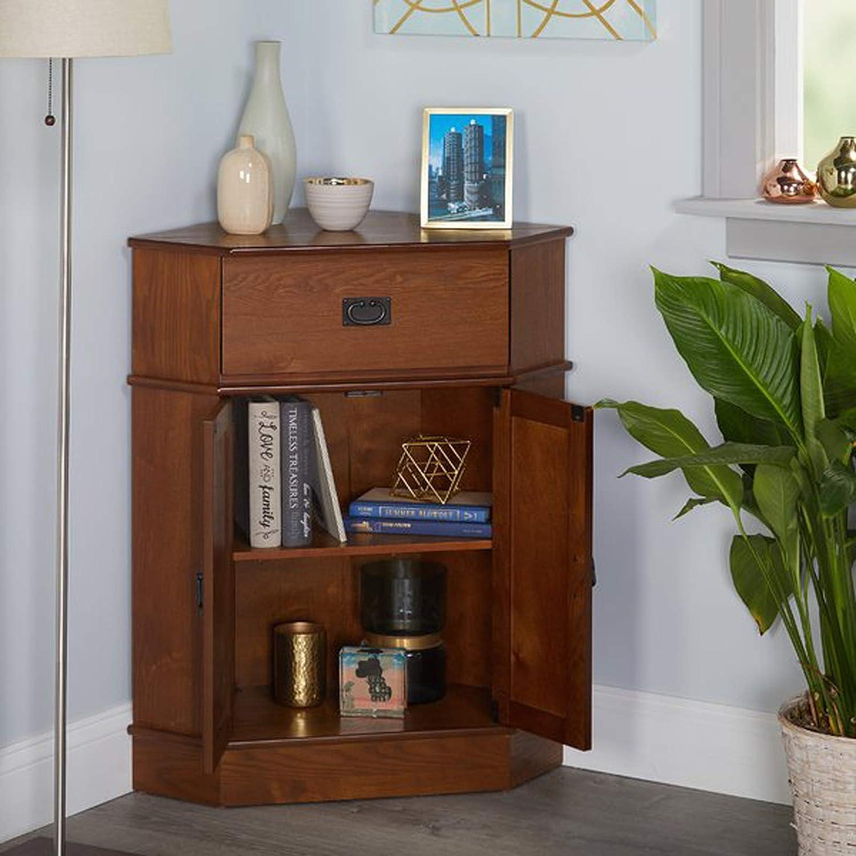 Amazon com 2 door corner cabinet modern accent cabinet light oak finish storage stand display living room furniture kitchen dining