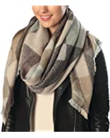 Women's Super Soft Large Tartan Fashion Scarf Best Gift Wrap Party Shawl With Brooch