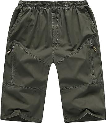 CardanWolf - Pantalones Cargo Cortos 3/4 Verano de Hombre Multibolsillos Cintura Elástica Algodón Ancho para Deportes Bermudas Laboral Casual: Amazon.es: Ropa y accesorios