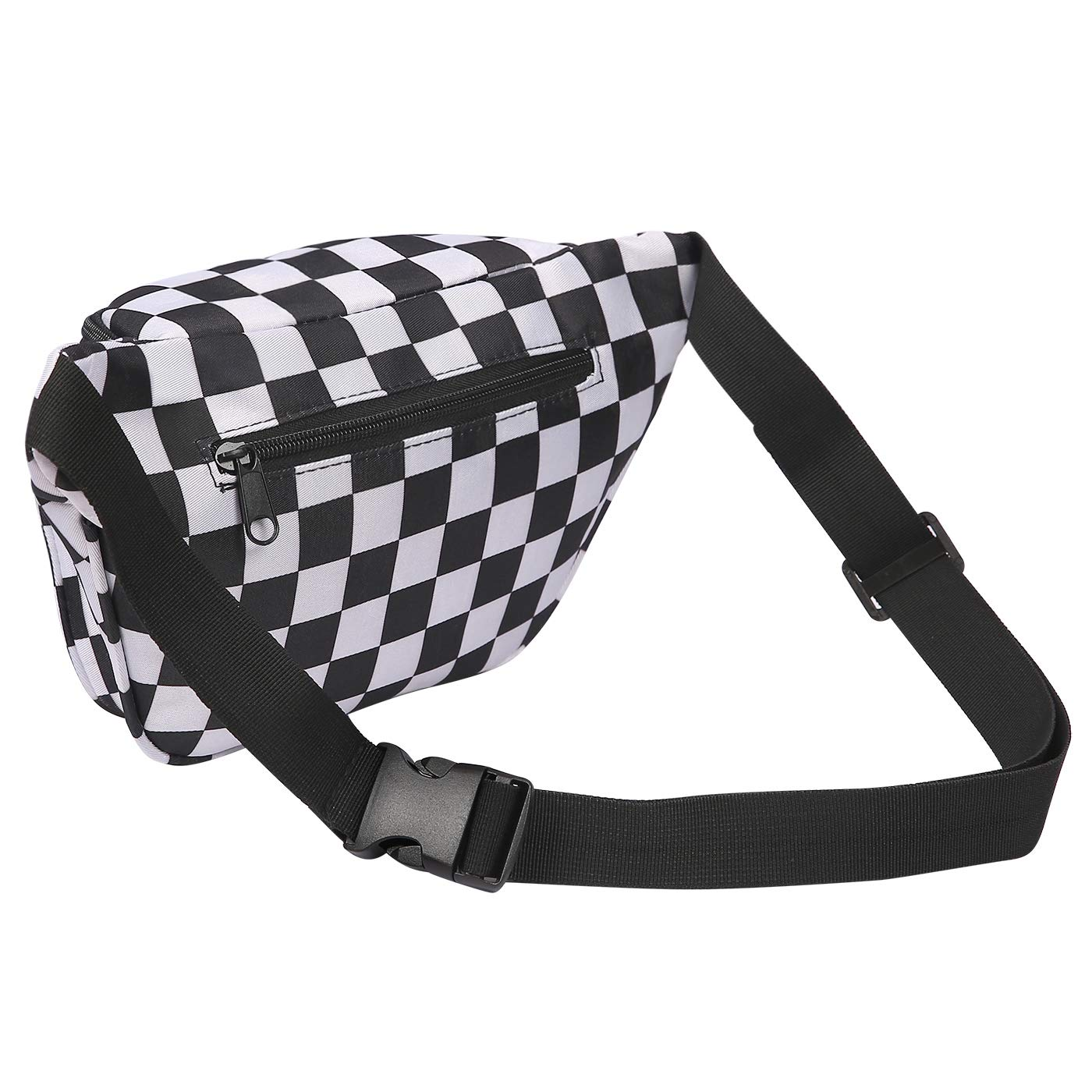 ac727e229f40 HDE Fanny Pack [80's Style] Waist Pack Outdoor Travel Crossbody Hip Bag  (Black and White Checkered)