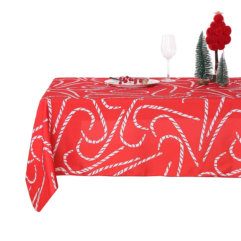 Deconovo Mantel Mesa Rectangular Mantel de Navidad Decoración Dibujo Bastón 140 x 240 cm Rojo: Amazon.es: Juguetes y juegos