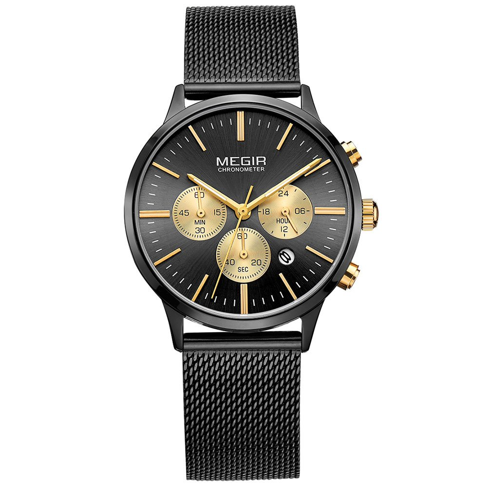 Megir Womens Stainless Steel Band Chronograph Date Indicator Fashion Quartz Wrist Watches Black and Gold … by MEGIR