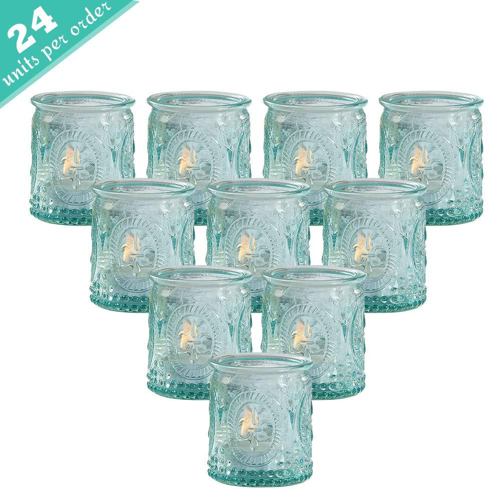 Kate Aspen Tea Light Holder, Vintage Glass Tealight Candle Holders, Perfect Wedding Favor, Bachelorette Favor or Bridal Shower Favor - (6 Sets of 4, 24 Pieces) by Kate Aspen
