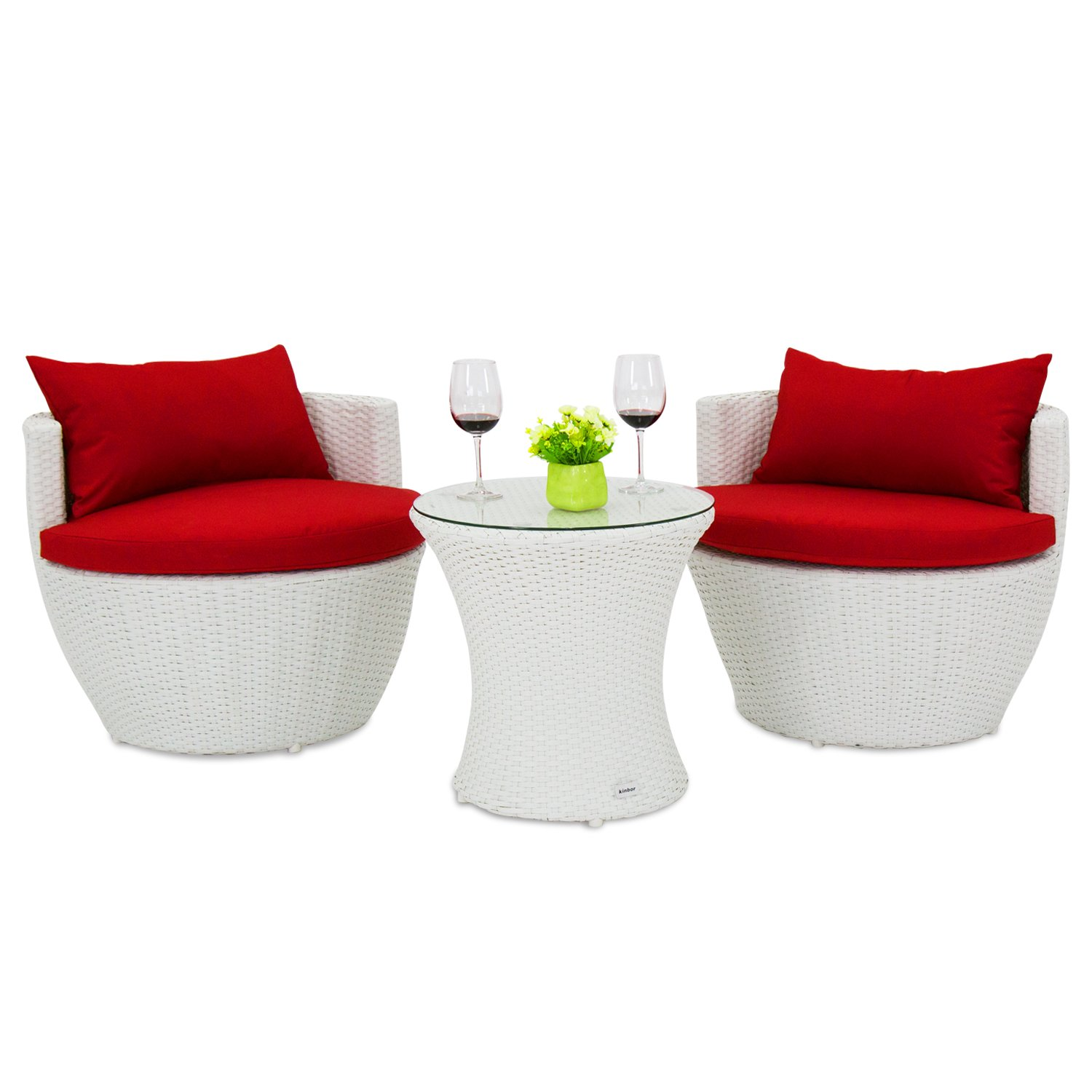 Kinbor 3Pcs Wicker Rattan Furniture Set Patio Outdoor Stackable Vase Coffee Table and Chairs w/Cushions (white)