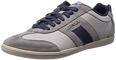 Diesel Happy Hour Vintage Lounge Grey Blue Suede Mens Trainers Shoes-12
