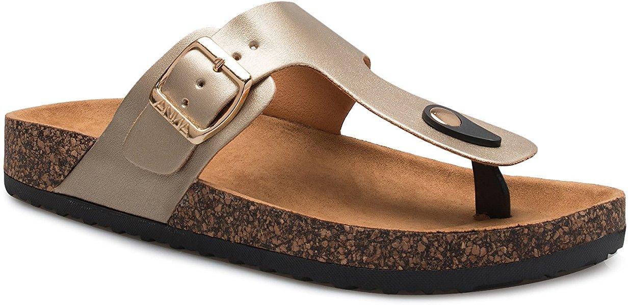 Women's Slide Sandal Thong Slip On Flip Flop Toe Loop Cork Buckle Faux Leather Beach Casual Platform Flat Shoes GR200 Gold 9