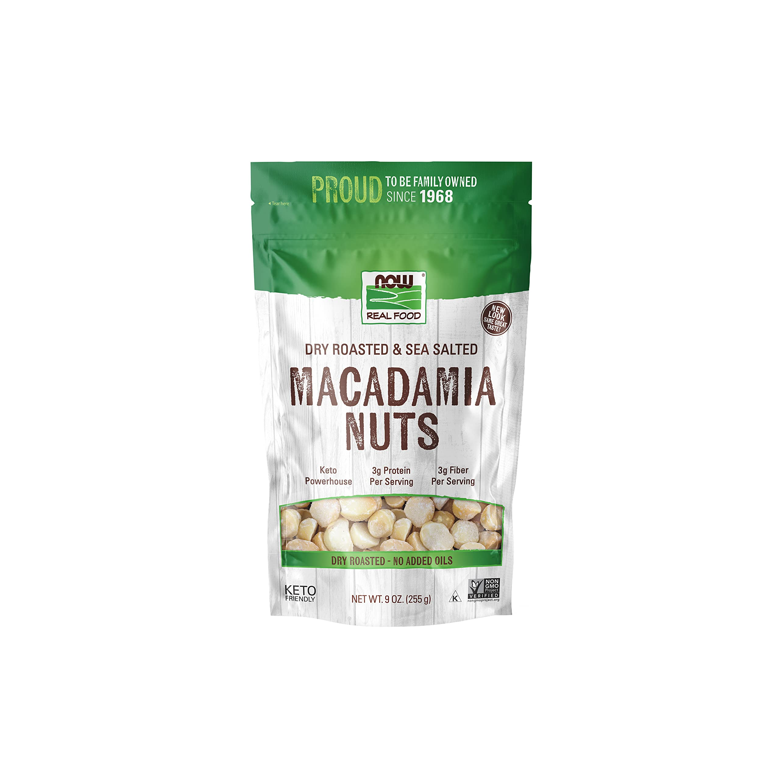 NOW Foods, Macadamia Nuts, Dry Roasted with Sea Salt, Source of Fiber, Gluten-Free and Certified Non-GMO, 9-Ounce