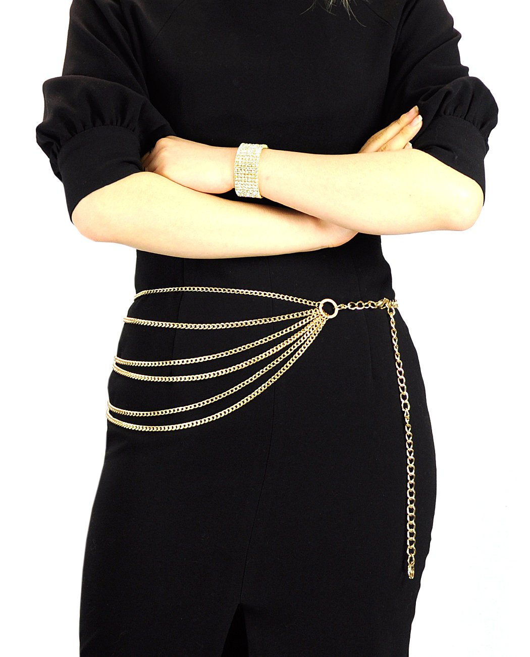 NYfashion101 Trendy Belly Chain Belt w/ Multi Link Chains & Loop IBT1005-Gold