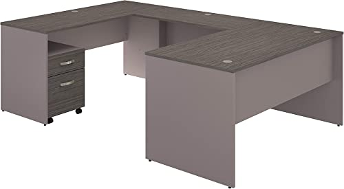 Bush Furniture Commerce 60W U Shaped Desk with Mobile File Cabinet in Cocoa and Pewter