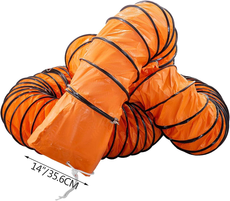 Frantools Tuyaux en PVC 49pi 14po Tuyau flexible PVC R/ésistant /à lusure Cordes ajustables pour ventilateur dextraction