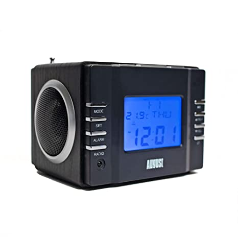 August MB300 Mini Wooden MP3 Stereo System and FM Clock Radio, with Card Reader, USB Port & AUX Jack (3.5mm Audio in), 2 x 3W Powerful Hi-Fi Speakers ...