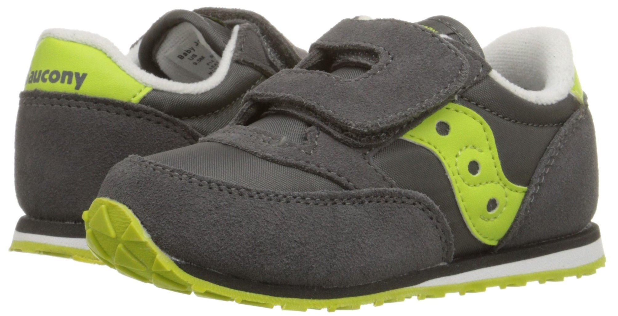 Saucony Jazz Hook & Loop Sneaker (Toddler/Little Kid), Grey/Citron, 9 M US Toddler by Saucony (Image #6)