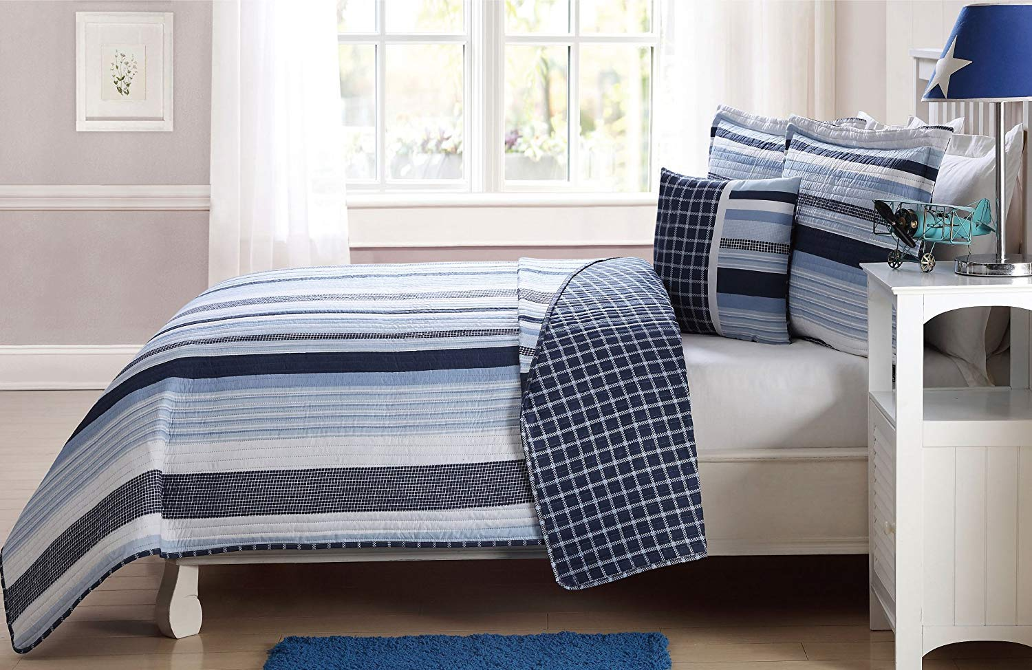 Sapphire Home 5pc Kids Teens Twin Bedspread Quilt Set with Matching Curtains Panels 84'' Length, Blue Navy White Elegant Stripes Coverlet for Boys, Twin Blue Stripes Quilt