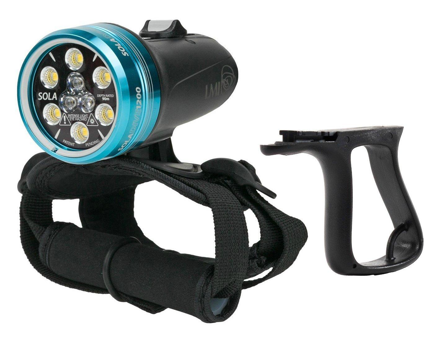 Light and Motion Sola Dive Light (1200-Lumens) W Pistol Grip Light Handle