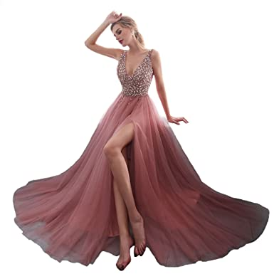 iLovewedding High Slit Prom Dresses Pink Sequined Tulle Long Party Evening Gowns