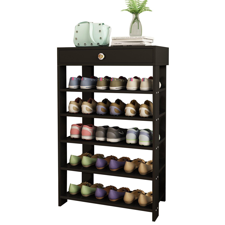 DL furniture 5 tiers Shoe Bench Organizing Rack Entryway Storage Shelf MDF Wood (Black)