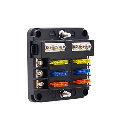 BlueFire Upgraded 6 Way Blade Fuse Box Fuse Box Holder Standard Circuit Fuse Holder Box Block with LED Light Indication & Protection Cover for Car Boat Marine Trike Car Truck Vehicle SUV Yacht RV: Automotive