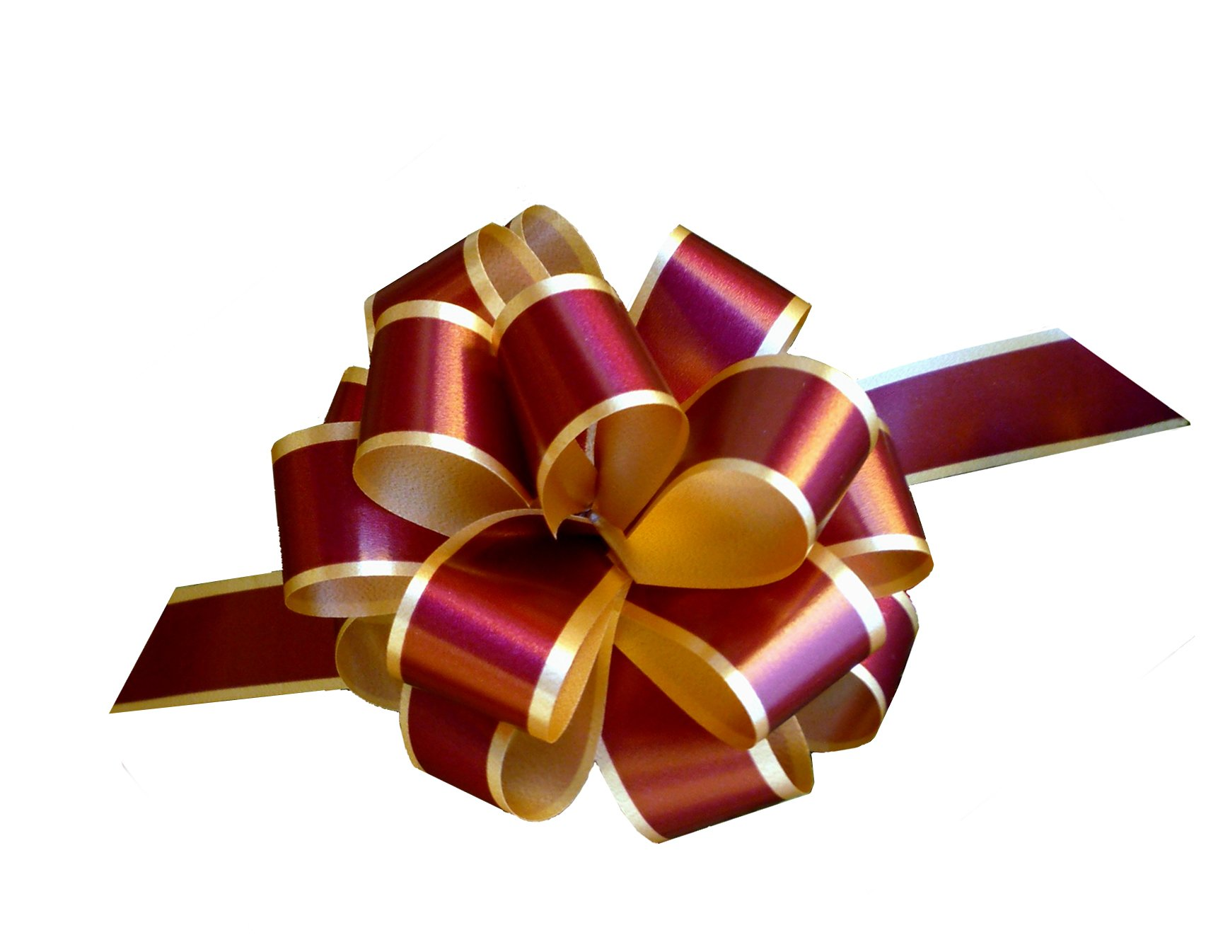 "Burgundy Gold Christmas Gift Wrap Pull Bows - 5"" Wide, Set of 10"