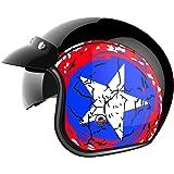 Motorcycle Open Face Helmet DOT Approved - YEMA YM-629 Motorbike Moped Jet Vespa Bobber Chopper Pilot Crash 3/4 Helmet with Sun Visor for Men Women Adult Street Bike Scooter Cruiser - Medium