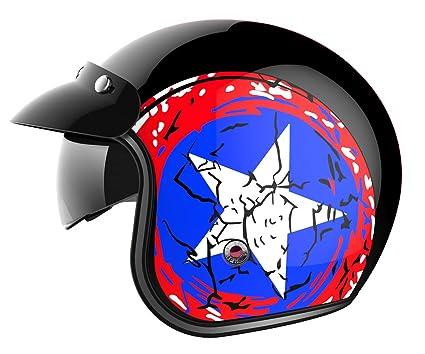 Motorcycle Open Face Helmet DOT Approved - YEMA YM-629 Motorbike Moped Jet Vespa Bobber