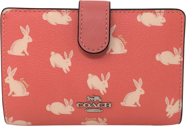 Coach Medium Corner Zip Wallet in a Bunny Print Bright Coral 91837