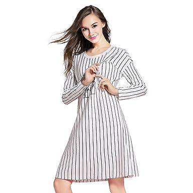 45a92d750af51 JOYNCLEON Womens Maternity & Nursing Nightgown Striped for Hospital  Breastfeeding Sleepwear Cotton (Label M fit