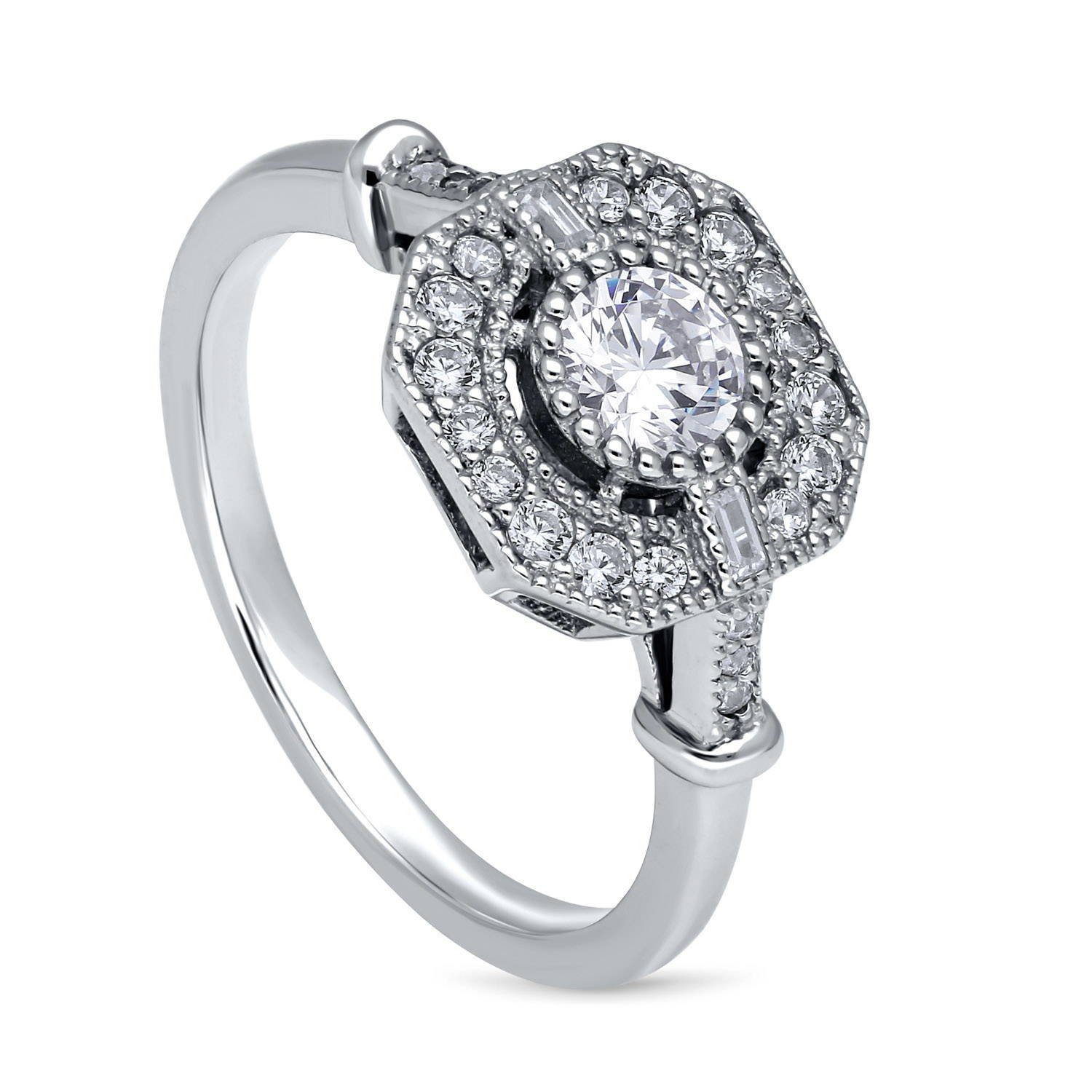 BERRICLE Rhodium Plated Sterling Silver Cubic Zirconia CZ Art Deco Ring Size 8