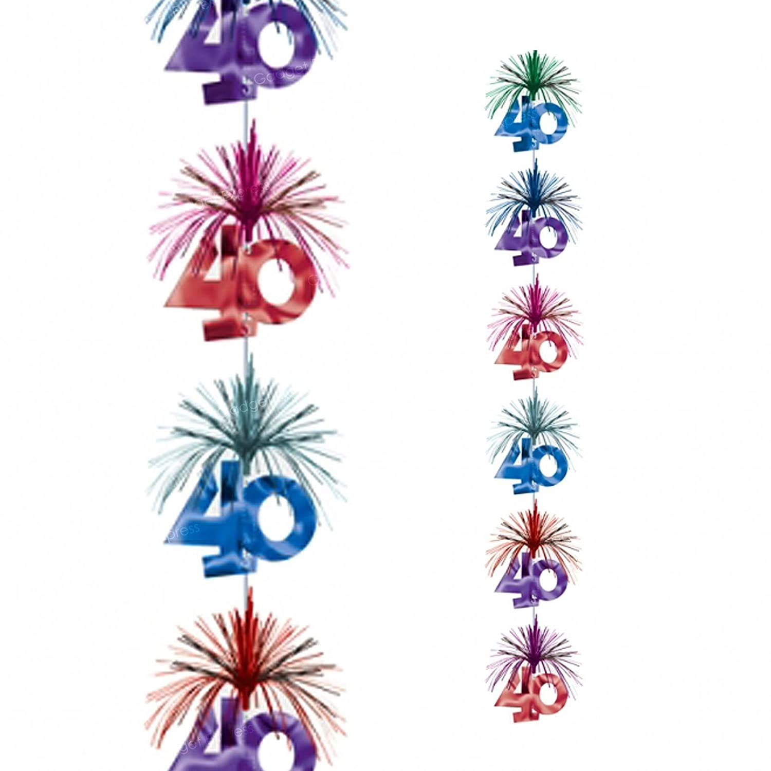 7ft 40th Birthday Cascade Column Sparkling Decoration Unisex Ladies Mens Party Sparkly Foil Hanging Cieling Banner Multicoloured Celebration - Red / Blue / Purple / Green Amscan