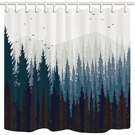 NYMB Scenery Shower Curtain Dark Forest And Mountain Mount Farmhouse Bathroom Mildew Resistant Polyester