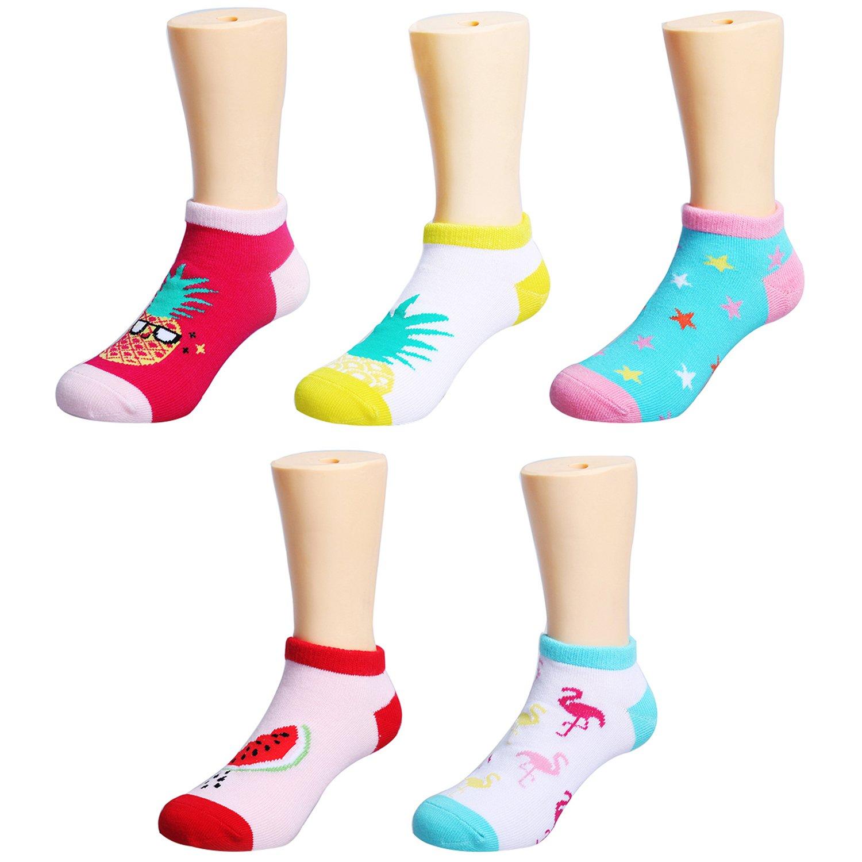 IMOZY Low-Cut No Show Socks for Girls- Summer Tropical Flamingo, Pineapple, Watermelon Designer Girls' Novelty Socks 5 Pack- Size 1-4 for Big Kids