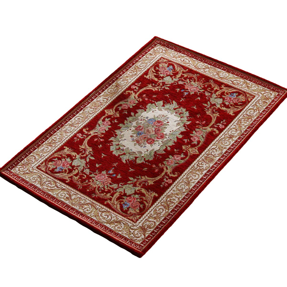 KEYAMA 32x 20Acrylic Non-Slip Carpet Stair Treads Thicken Rectangle Jacquard Parlor Floral Area Rugs Classical doormats Stair Corner Matching Landing Carpet mats 059 Brown