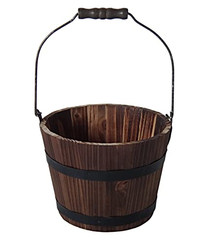 Cheungs Fp 3767 Home Decorative Accent Wooden Bucket With Handle