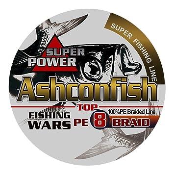 AshconfishPEライン釣り糸X8(150m200m300m1000m)(1号1.2号1.5号2号2.5号3号3.5号4号5号6号7号8号9号10号)(5色マルチカラー/白ホワイト/黄色イエロー)8編の画像