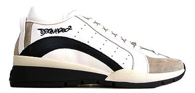 DSQUARED - Zapatillas de Cuero para Hombre Blanco Blanco/Negro Blanco Size: 43.5 EU
