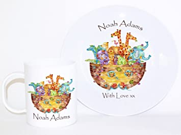 Personalised Dinner Set. Noahs Arc Gift Baby Keepsake Personalised Plates \u0026 Cup  sc 1 st  Amazon UK & Personalised Dinner Set. Noahs Arc Gift Baby Keepsake Personalised ...