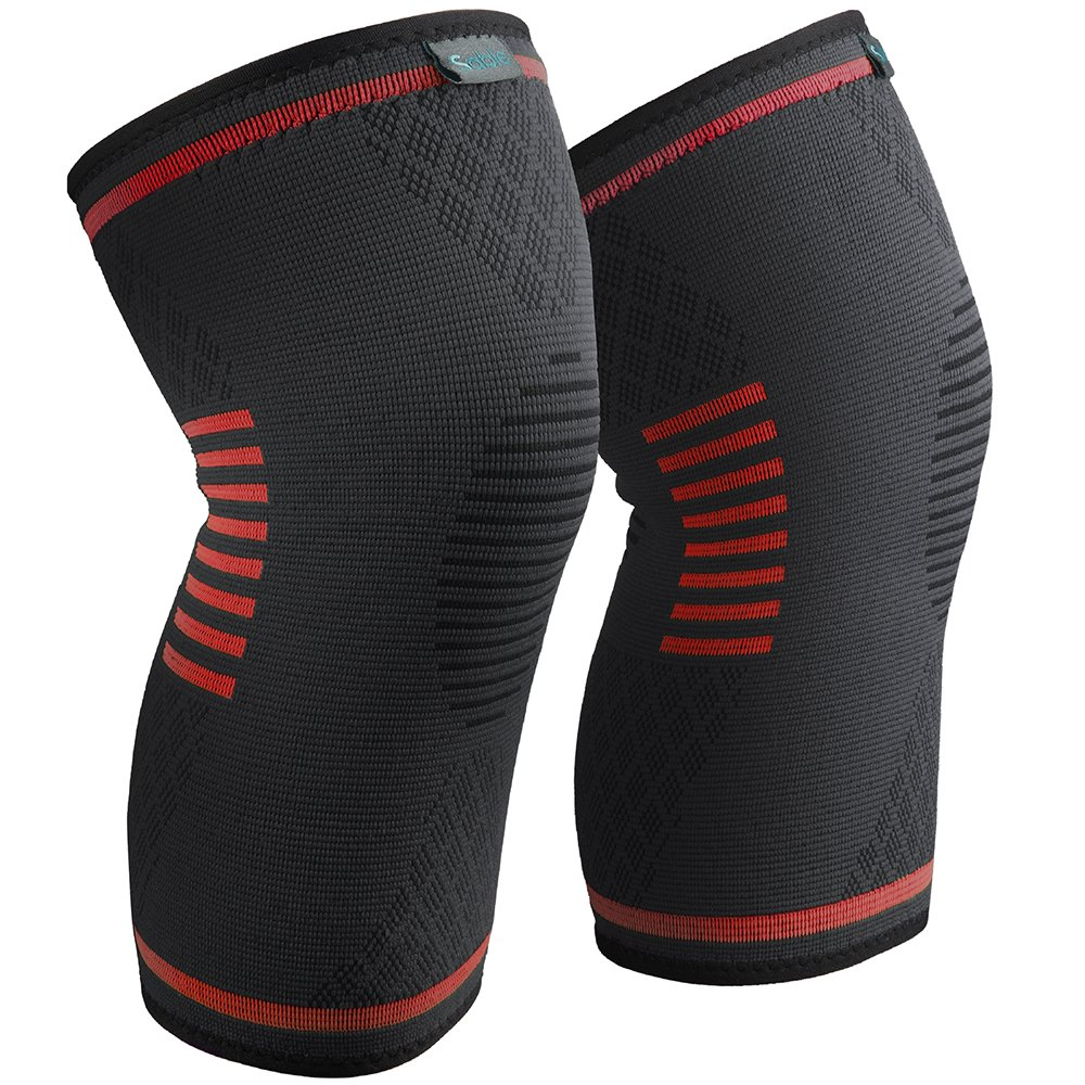 Sable Knee Brace, Compression Sleeve FDA Approved, Support for Arthritis, ACL, Running, Biking, Basketball Sports, Joint Pain Relief, Meniscus Tear, Faster Injury Recovery, Large, 2 Piece