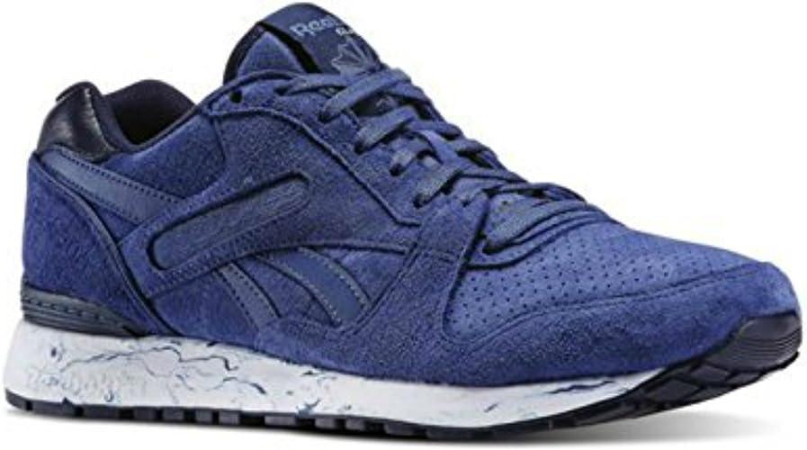 Reebok Mens GL 6000 MM Marbled Midsole Pack Casual Shoe Midnight BlueFaux IndigoOpalWhiteCollegiate Navy