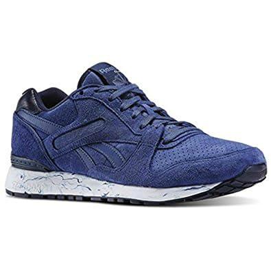 25855d494e5e36 Reebok Mens GL 6000 MM Marbled Midsole Pack Casual Shoe Midnight Blue Faux  Indigo