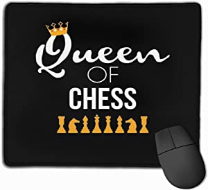 """Queen of Chess T-Shirt Board Game Lover Chess Player Gift Stitched Edge Laptop Gaming Mouse Pad Computer Mousepad 11.8""""X9.8"""""""
