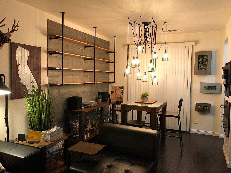A pair /×4 Layer,Industrial Pipe Wall Shelf,Floating Bookshelf,DIY Kitchen Storage Shelf,Metal Pipe Bracket Rack,Living Room Display Shelf