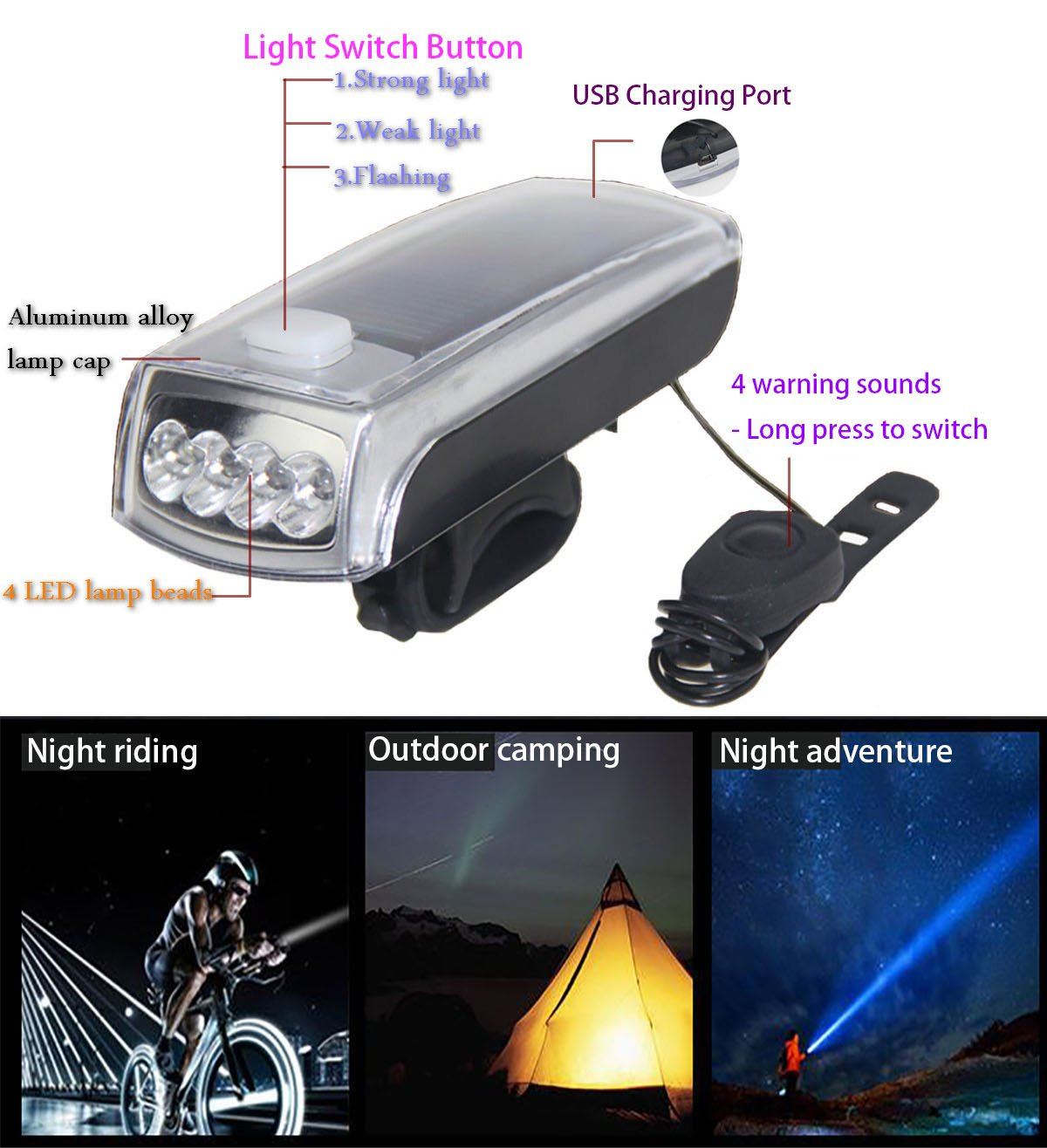 Ultra Bright Bicycle Lights Set - Front Headlights & Horn & Back Taillights, Two(Solar and USB)-in-One Rechargeable LED Bike Front Lights, Waterproof & Safety Road, 1200mAH/1200 Lumens Head Lights. by Juxical (Image #6)