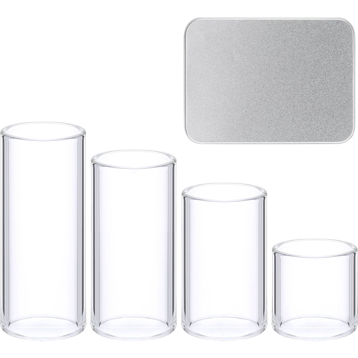 4 Pieces Glass Slide Set with Metal Box for Guitar, Bass Patelai