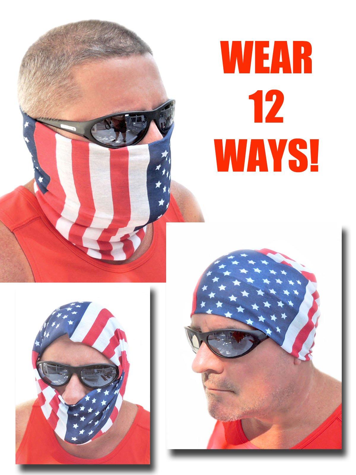 12-in-1 Headband - USA American Flag Versatile Sports & Casual Headwear - Wear as a Bandana, Neck Gaiter, Balaclava, Helmet Liner, Mask - High Performance Microfiber