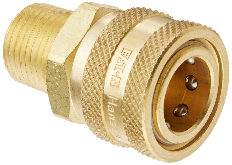 Eaton Hansen 4S25 Brass Straight Through Ball Lock Hydraulic Fitting, Socket, 1/2''-14 NPTF Male, 1/2'' Port Size, 1/2'' Body