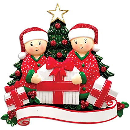 0f5c9c61545 Ornaments by Elves Personalized Opening Presents Family of 2 Christmas  Ornament for Tree 2018 - Couple