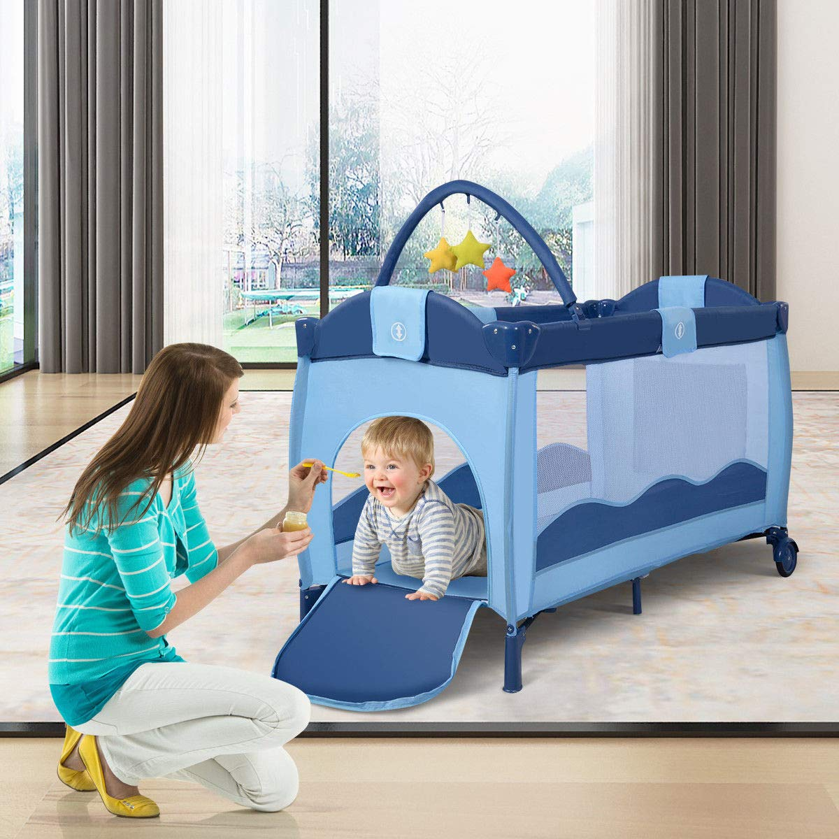 Toddler Baby Crib Playard Pack Playpen Bassinet Travel Infant Bed Portable Foldable by WealthyPlaza (Image #3)