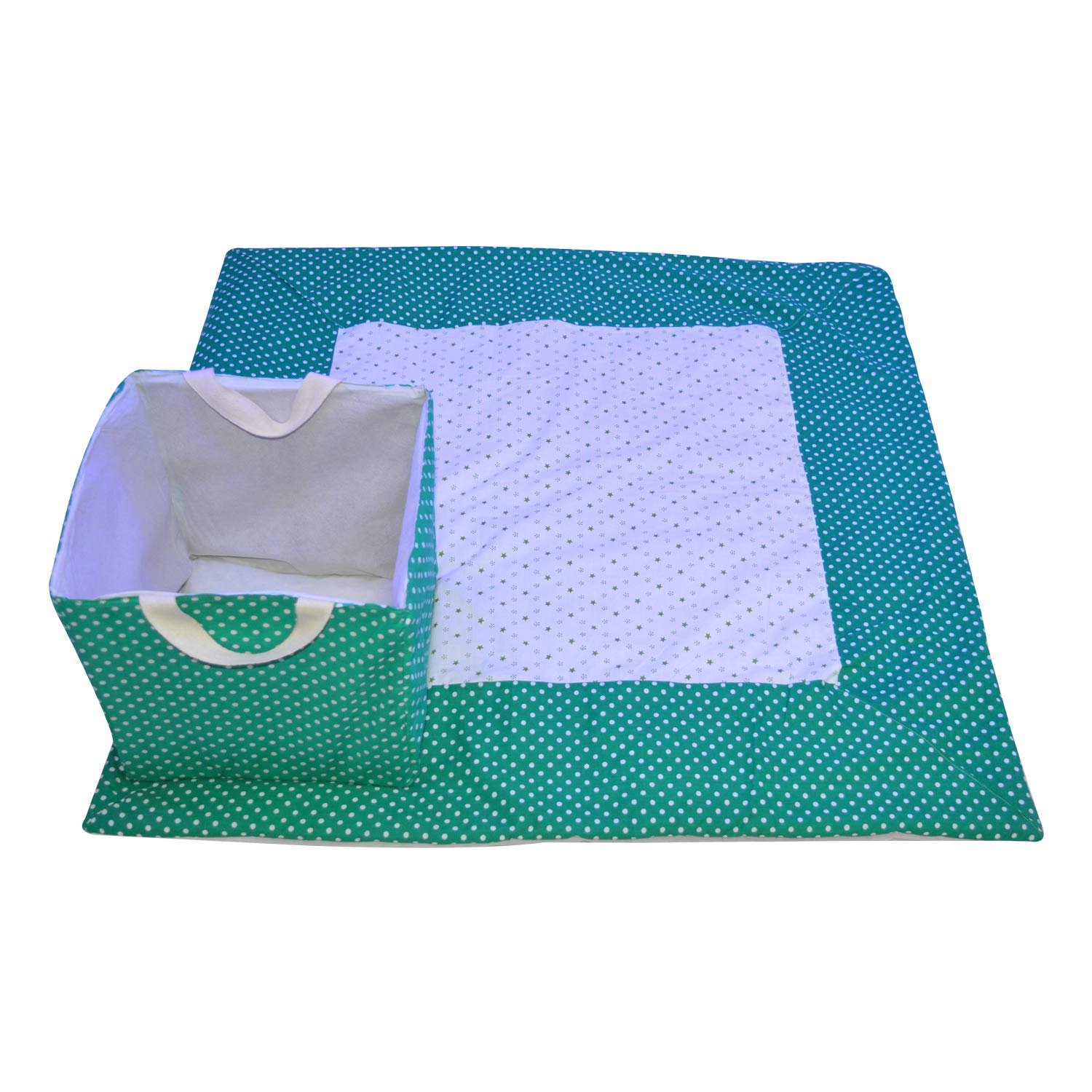 Creative Textiles Cotton Printed Outdoor and Indoor Play Mat with Laundry Bag (Green)