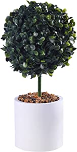 12'' Artificial Potted Plant,Boxwood Topiary Plant /Ball Shaped Tree in White Cement Pot,Greenery Plant Faux Plastic Eucalyptus for Home & Office Decor