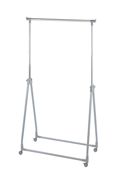 Wenko Perchero Plegable Regulable en Altura, Metal Cromado, Plateado, 49x88x168 cm