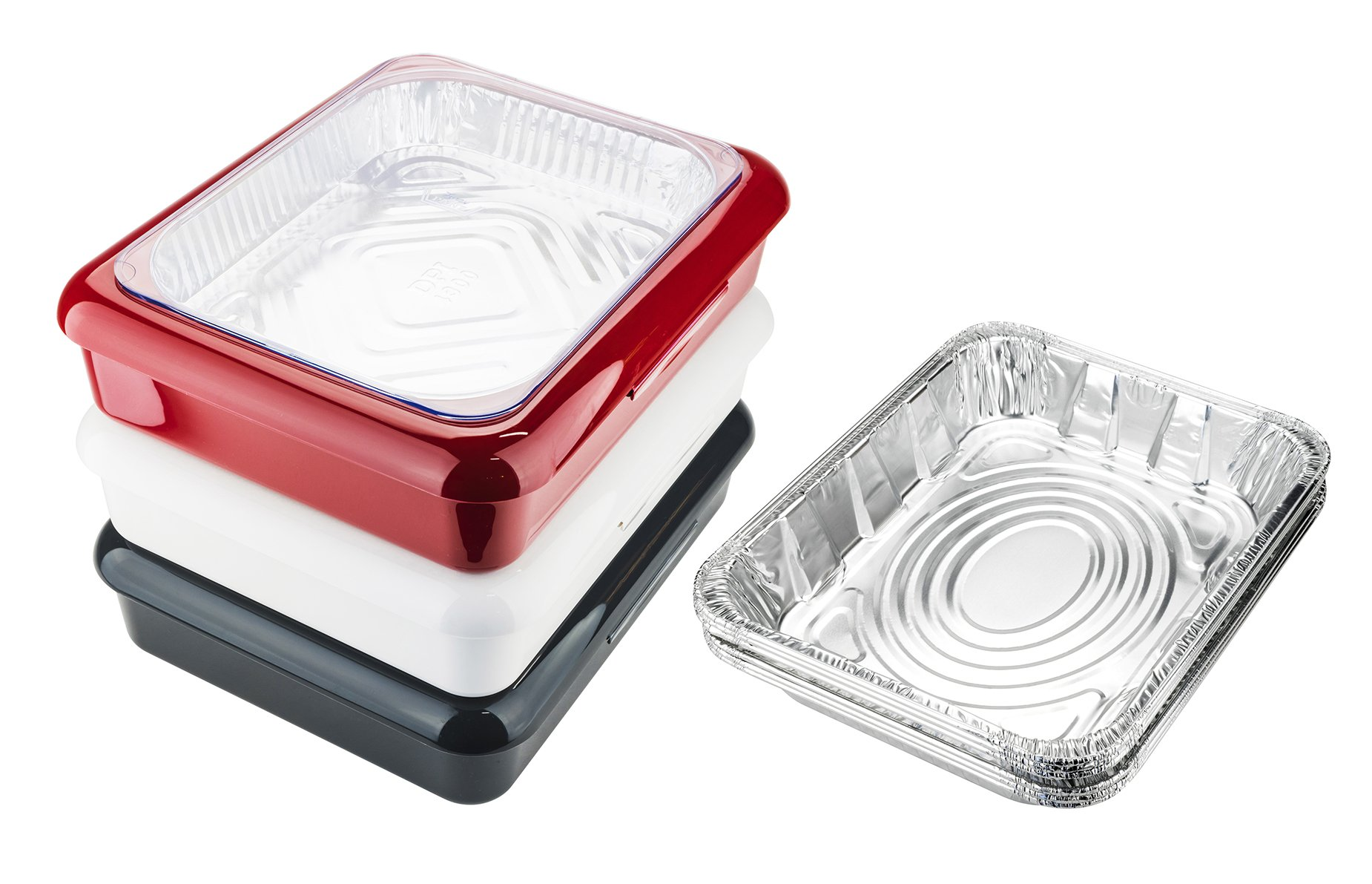 Fancy Panz FPAN3SET Portable Casserole Serveware 3-Piece Set, Dish Pan with Cover for Indoor and Outdoor Use; Red, White and Charcoal Color (Bonus 3 Foil Pans Included)